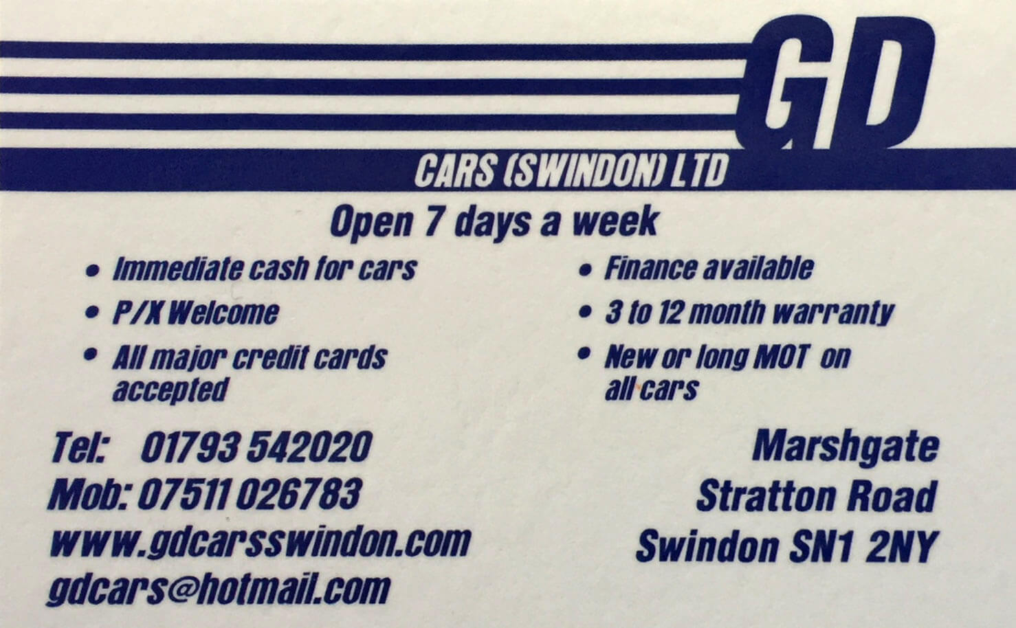 gd cars swindon card